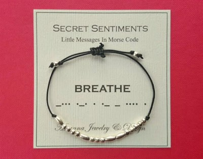 Secret Sentiments Morse Code Message Bracelet BREATHE