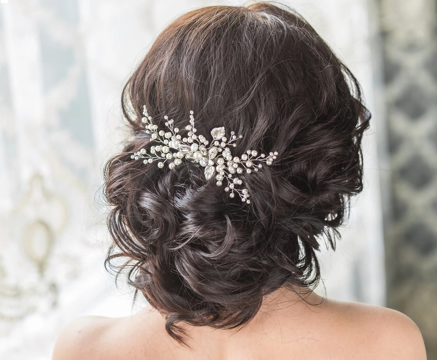 emerald hair comb hair pieces for wedding Bridal Hair Comb with Swarovski Pearls Bridal Headpiece Bridal Hair Piece Leaf Hair Comb