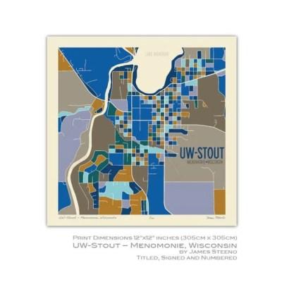 UW Stout Menomonie Wisconsin Campus Art Map Print