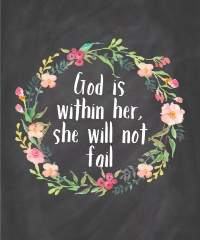 Items similar to God Is Within Her She Will Not Fail Printable Instant Download Chalkboard Wall ...