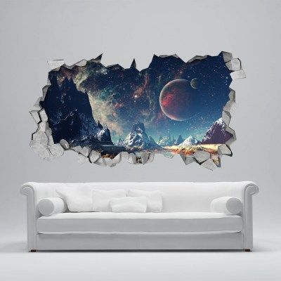 Space Broken Wall Decal 3d Wallpaper 3d wall decals 3d