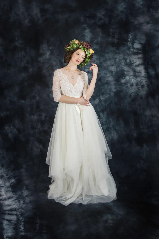 ivory lace bohemian wedding dress boho sleeved wedding dress long sleeve wedding dress destination zoom