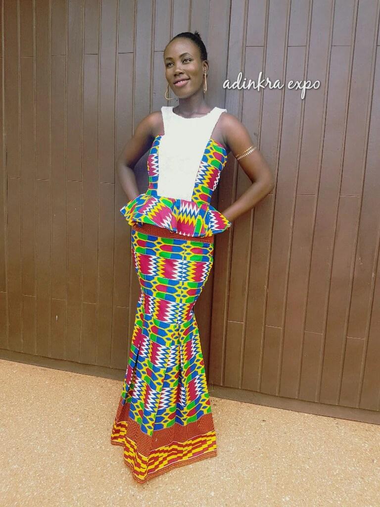 african lace dress african wedding dress Emefa Kente Print and Lace Dress African Wedding Dress Prom Dress African Dress African Print Gown Ankara Gown Ankara prom dress