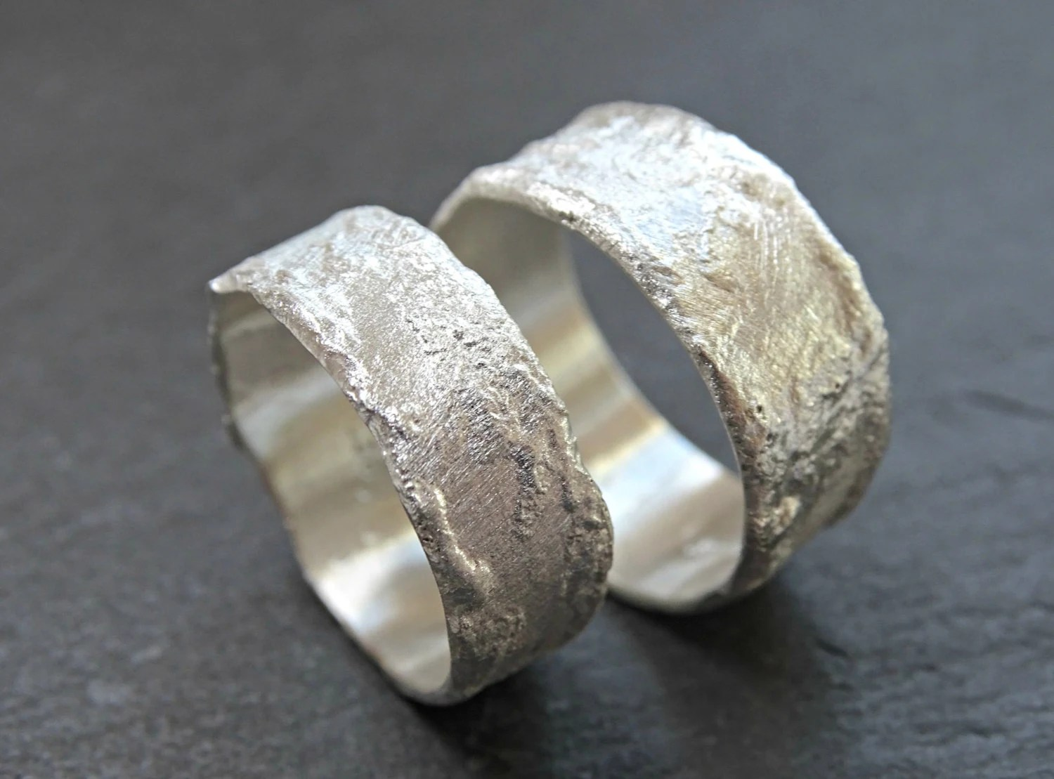 abstract silver ring cool wedding rings unique wedding rings rustic cool wilderness rings matching wedding bands silver structured rings abstract fused ring bands molten