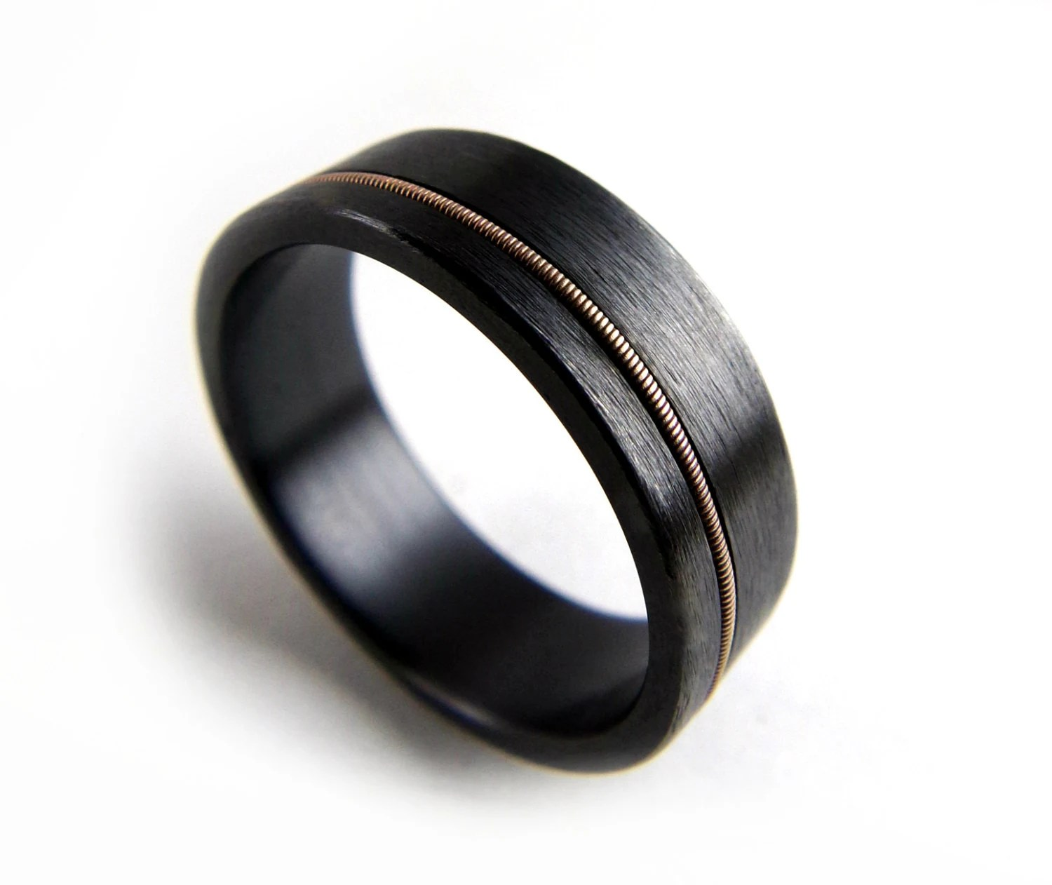 black zirconium ring black mens wedding rings Black Zirconium Ring Guitar String Ring Black Metal Ring Guitar String Jewelry Black Ring Men Black Ring Women Wedding Ring Black Band