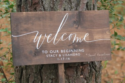 Welcome to our Beginning Wedding Sign Wooden Wedding Welcome