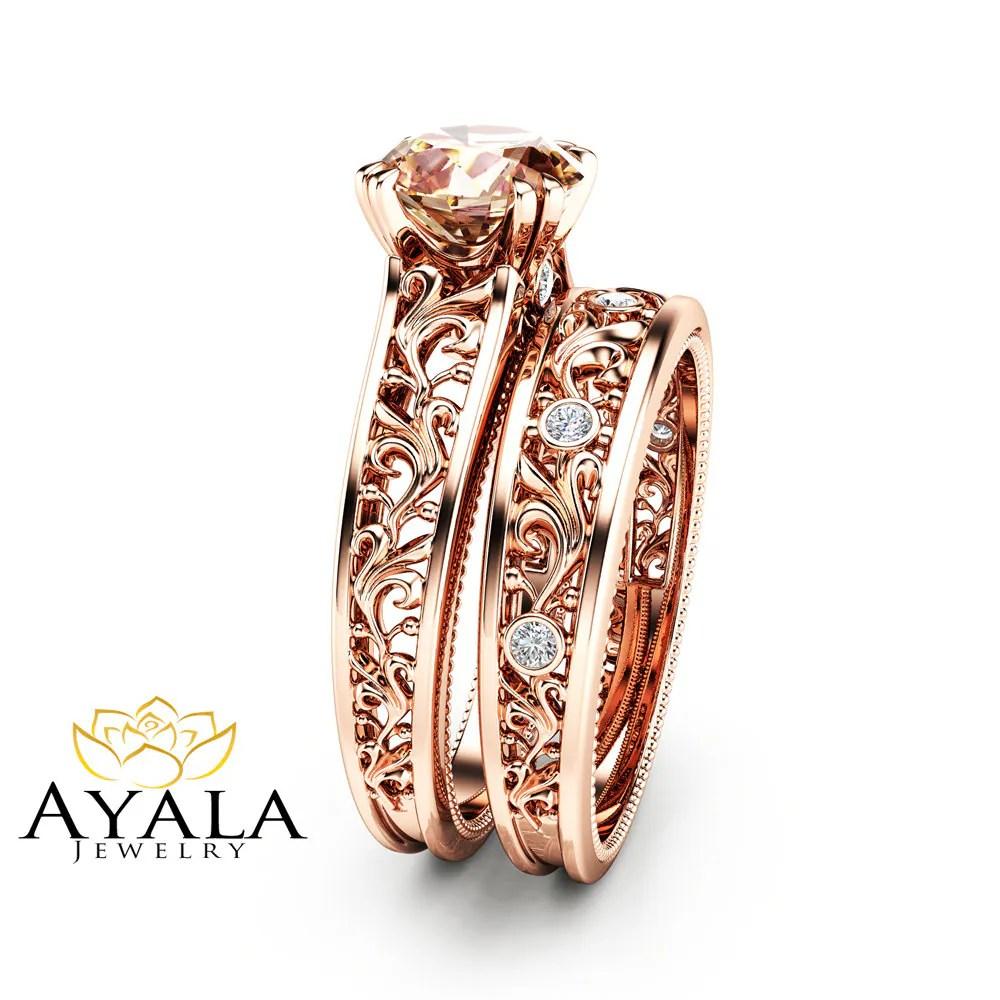 morganite bridal set wedding ring bridal set Peach Pink Morganite Bridal Set 14K Rose Gold Morganite Engagement Rings Art Deco Styled Bridal Ring Set Filigree Rose Gold Rings