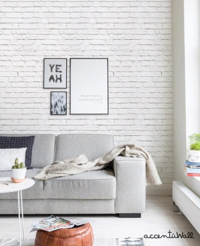 Sale Removable Wallpaper White Brick Modern Clean by AccentuWall
