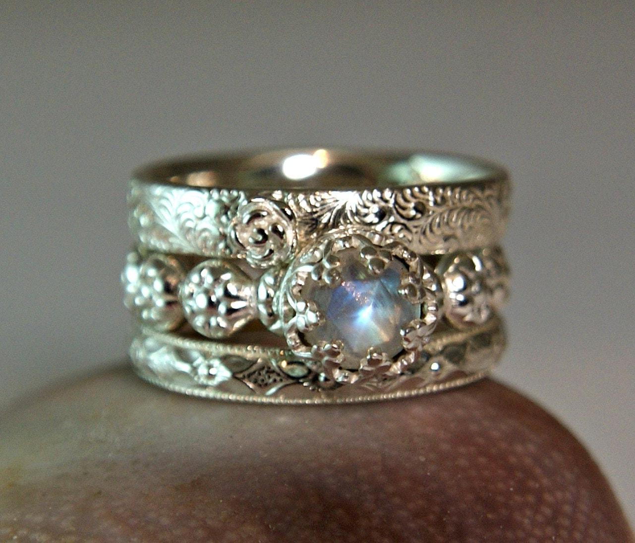 rainbow moonstone wedding set sterling moonstone wedding ring sets zoom