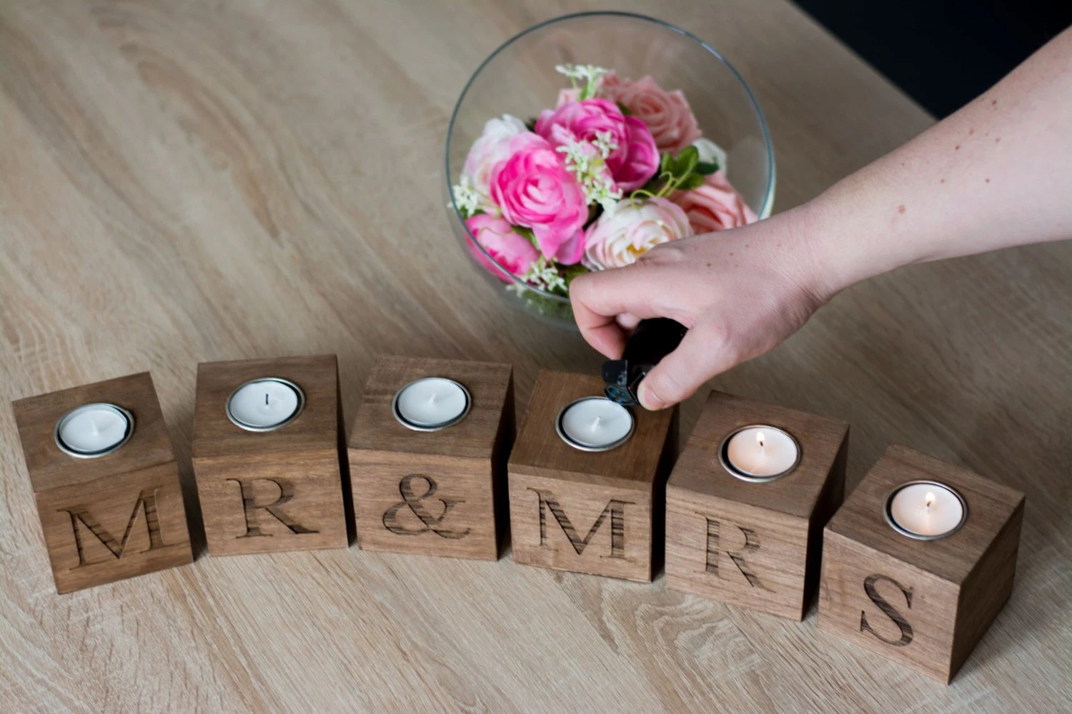 wedding gift wedding gift Mr and Mrs Home decor Wedding Gift for the couple Wooden Rustic Candle Holder Gift the couple Candle Holders Decor cozy Home Gift for bride