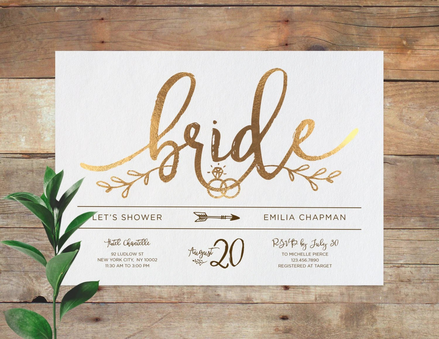 rose gold invitation rose gold wedding invitations Emilia Bridal Printable Bridal Shower Invitation Shower Invite Wedding Shower Invitation Calligraphy Gold Now available in Rose Gold
