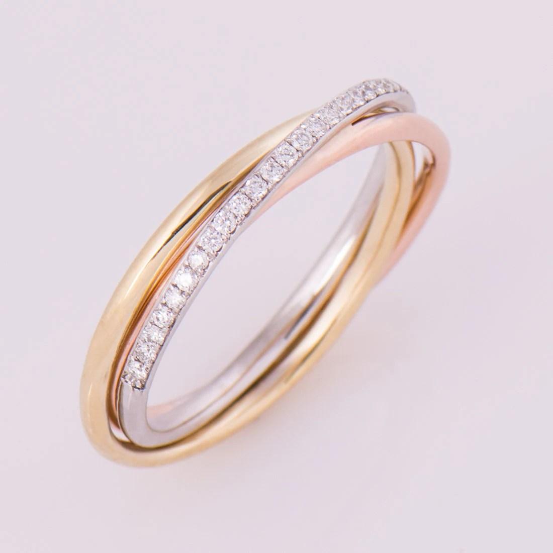 rolling ring multi band wedding ring Three Tone Ring 14K 18K Gold Diamonds Band Anniversary Ring Wedding Ring Diamond Band Trinity Tri Color Ring Stackable Ring