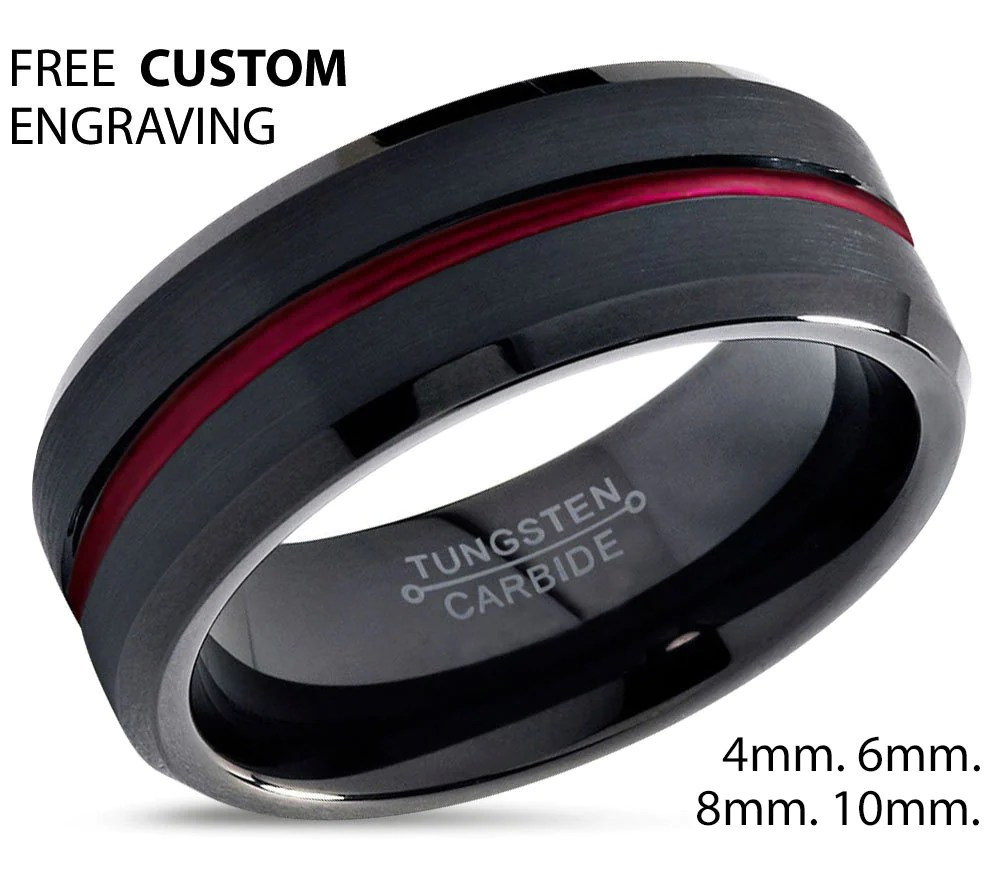 tungsten ring mens black red wedding black mens wedding rings Tungsten Ring Mens Black Red Wedding Band Tungsten Ring Tungsten Carbide 8mm Brushed Man Wedding Male Women Anniversary Matching