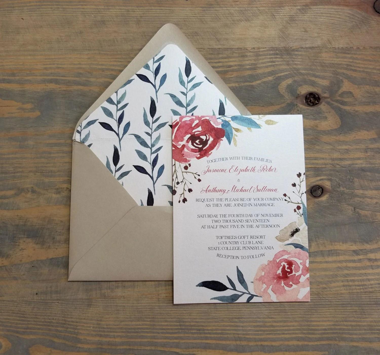 watercolor wedding invitation floral burgundy wedding invitations Blush Wedding Invitations Fall Floral Wedding Invitation Boho Wedding Invites Rustic Burgundy Wedding Invitation Set
