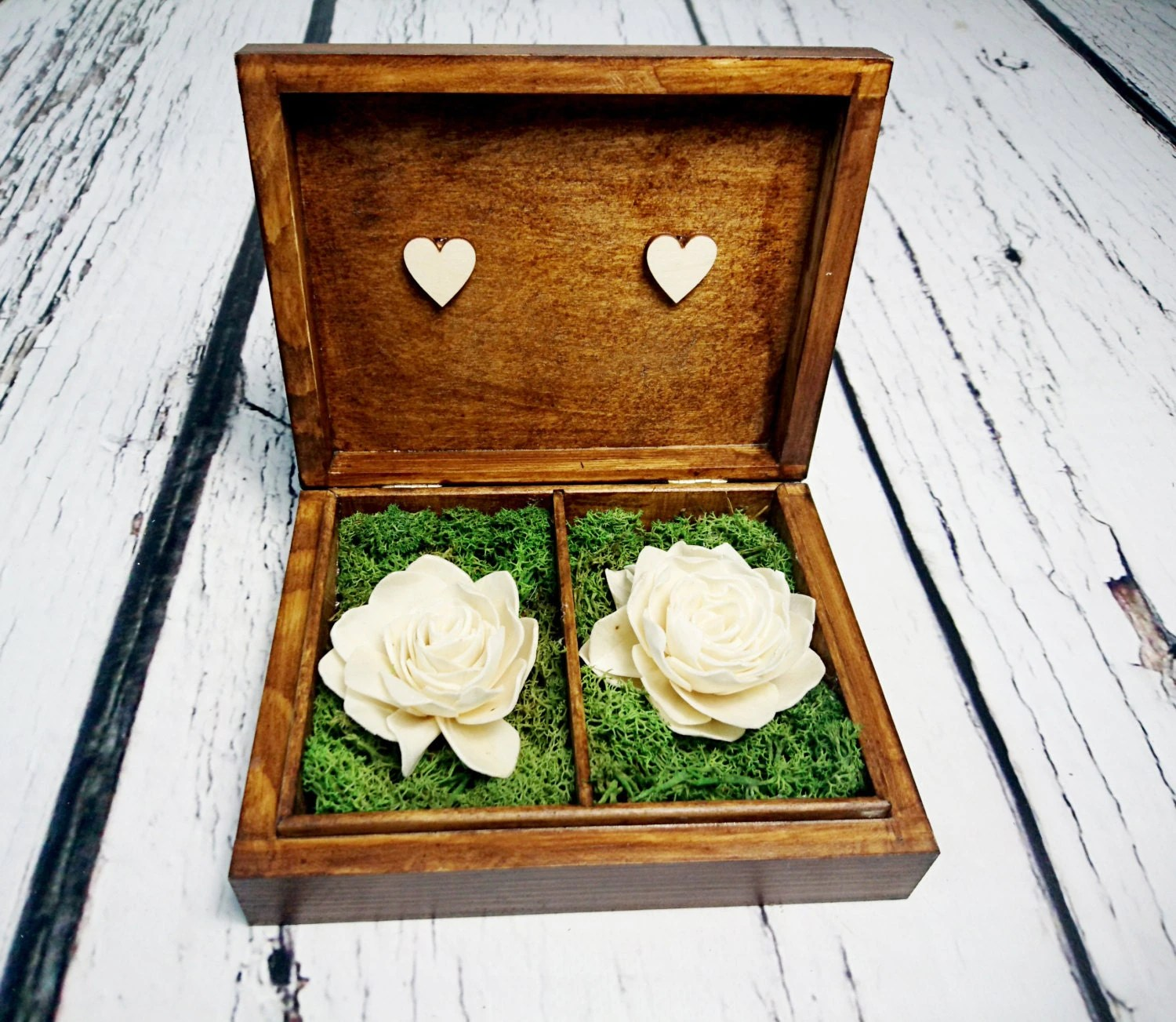 wedding rings box vintage puzzle love puzzle wedding rings Wedding rings box vintage puzzle love wedding pillow rustic looking old moss sola flowers shabby chic brown hearts distressed