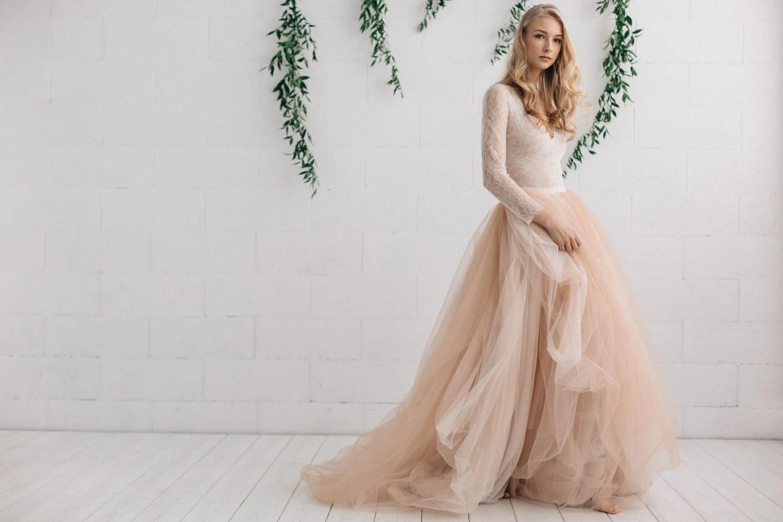 boho wedding dress simple bohemian wedding dresses Wedding Dress Nude Champagne Peach Ivory Bridal Dress Two Piece Dress Long Sleeves Dress Melanie