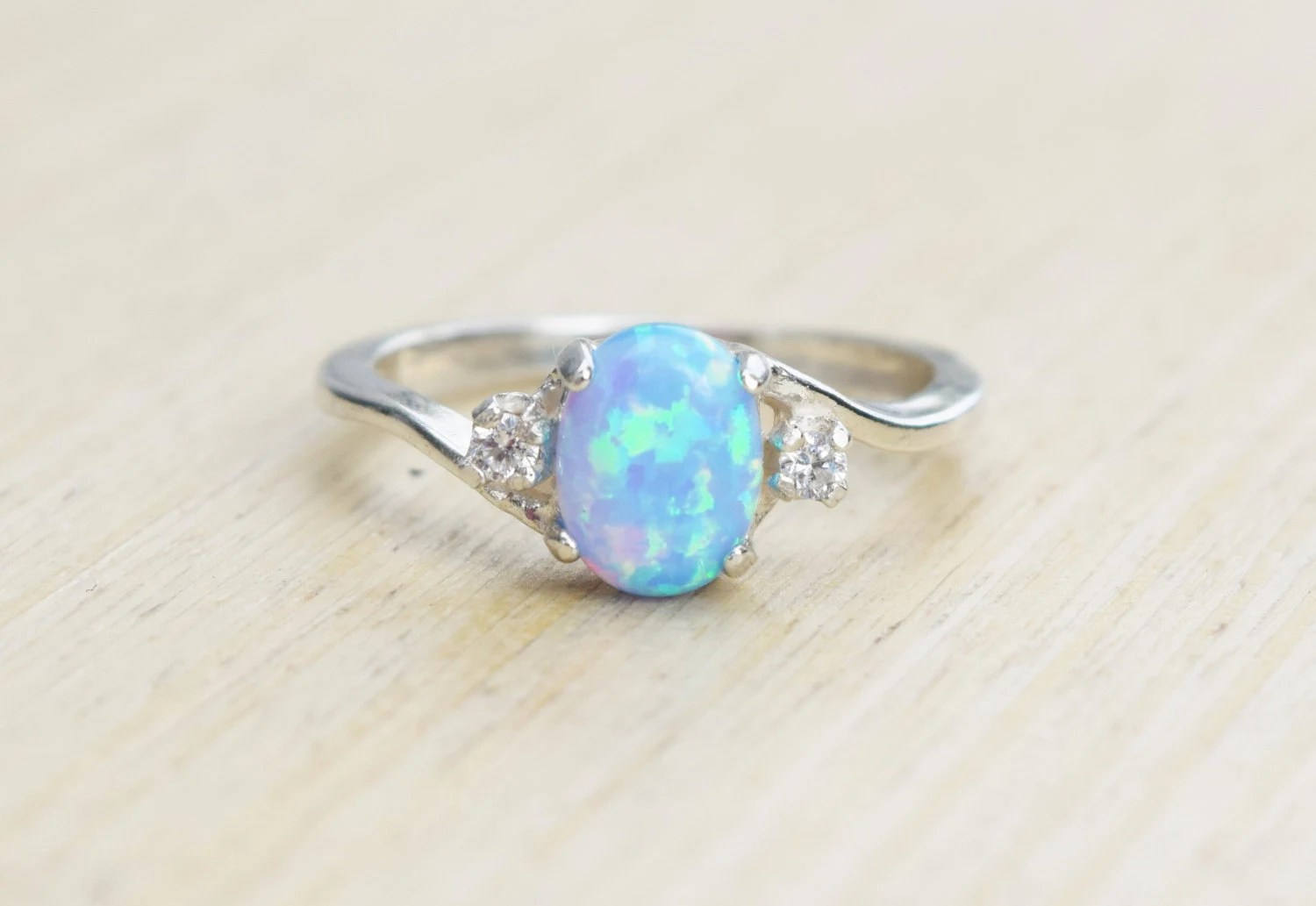 opal wedding ring opal wedding ring sets Silver Lab Opal Ring Blue Opal Ring Light Blue Opal Ring Opal Engagement Ring Promise Ring Anniversary Gift For Her October Birthstone