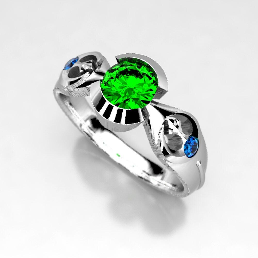 star wars ring star wars wedding bands Star Wars Rebel Alliance Engagement Ring in Silver Palladium or Gold Emerald Geek Engagement Ring Size 5 Ring Star Wars Wedding Ring