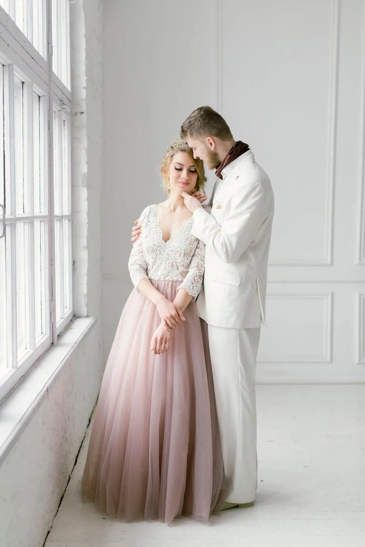 blush wedding dress blush colored wedding dress Blush tulle dress blush long dress blush wedding dress blush gown color wedding dress blush and white gown