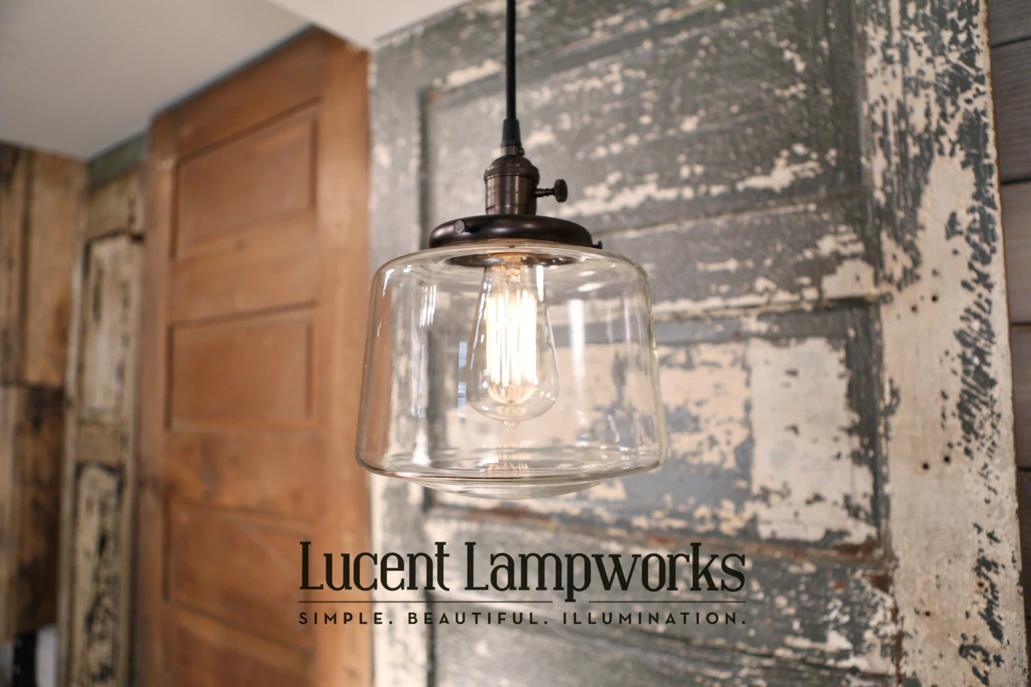 lighting farmhouse kitchen lighting fixtures Pendant Fixture with Clear Glass Taper Drum 8 Inch
