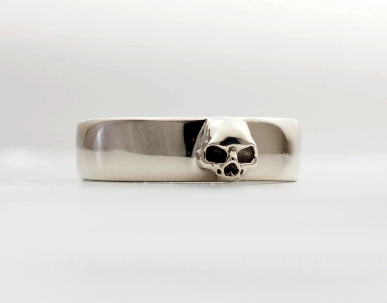 mens skull wedding ring white gold skull wedding ring Mens Skull Wedding Ring White Gold Grooms Skull Ring Goth Groom Ring Small Mens Skull Ring Psychobilly Wedding Band Wedding Set All Sizes