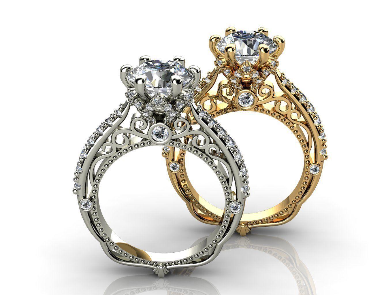 hexagon ring white diamond engagement wedding rings Hexagon Ring White Diamond Gold