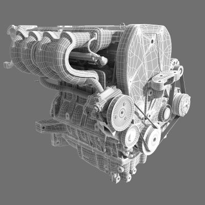 Car 4 Cylinder Engine 02 3D Model MAX FBX | CGTrader.com