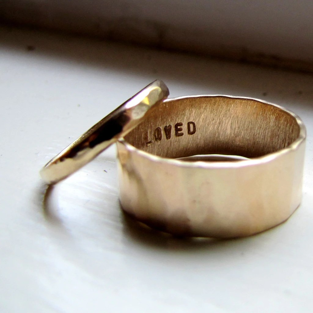 simple unique wedding band set of hammered wedding band Wedding Band Set of Hammered Gold zoom