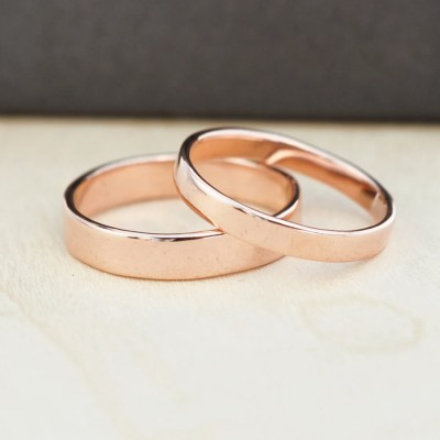 Rose Gold Wedding Band Set Gold Wedding Rings 3mm and 4mm