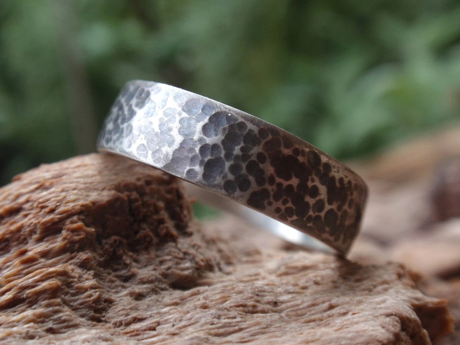 mens rustic wedding band hammered mens hammered wedding bands hammered wedding ring gift for men and women in oxidized sterling zoom