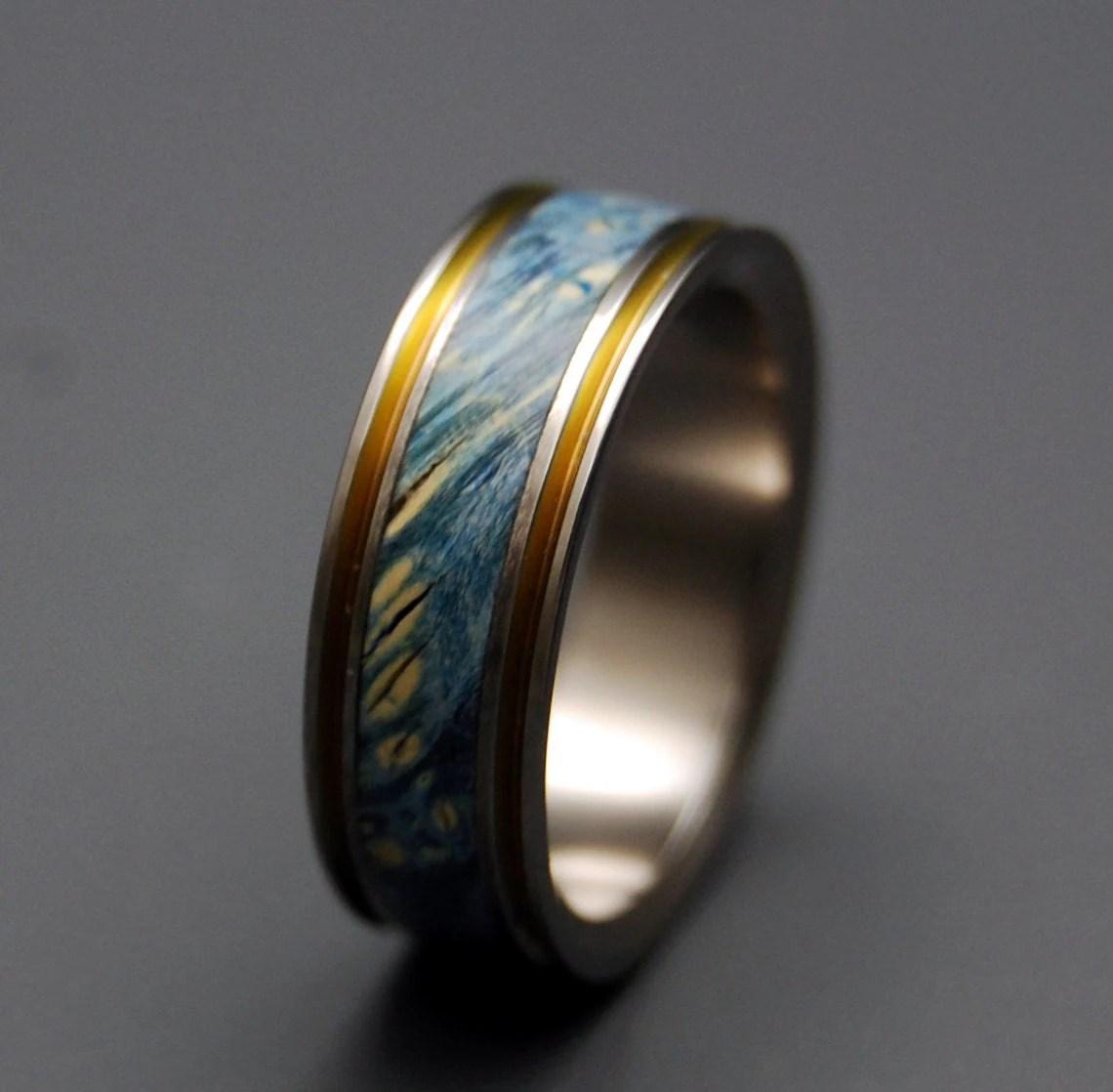 titanium wedding ring wood ring wedding wooden wedding bands zoom