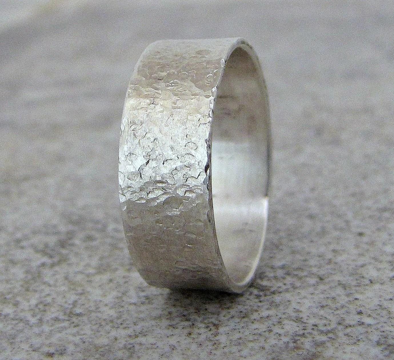 mens wedding band hammered silver mens hammered wedding bands zoom