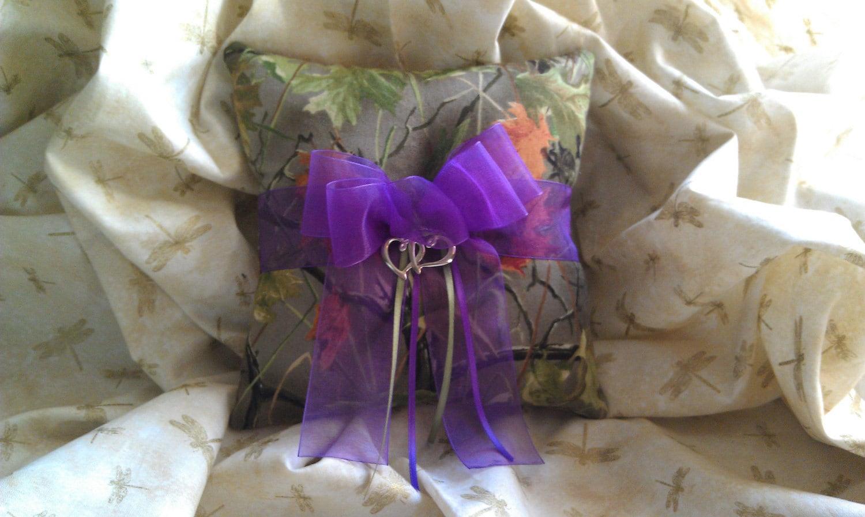camo wedding rings camo wedding band sets Realtree CAMO wedding ring bearer pillow with purple