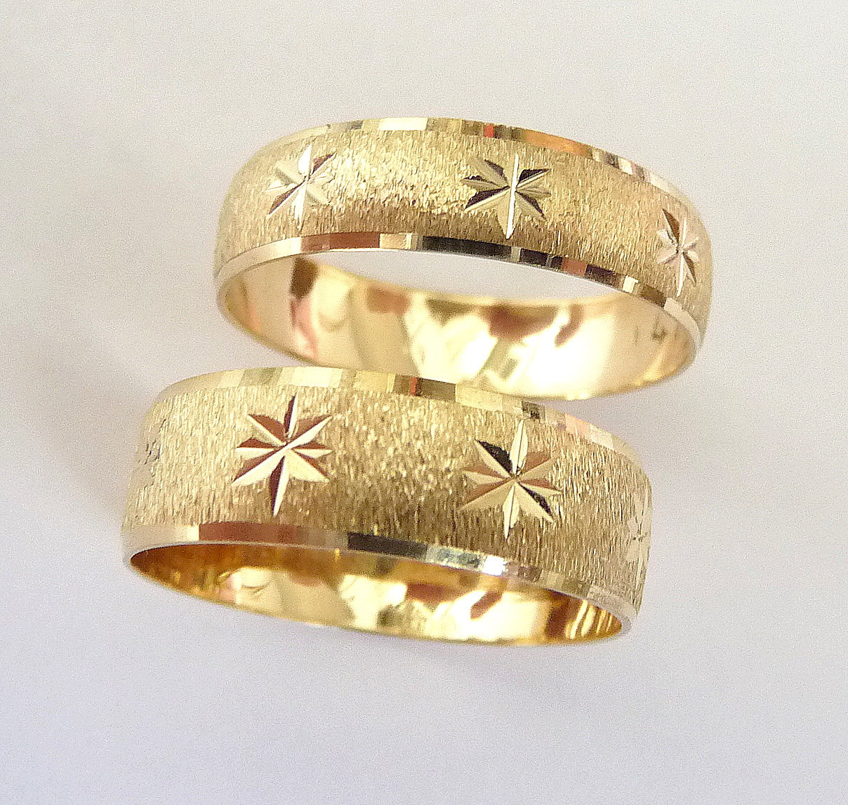 wedding rings set gold men and women gold wedding ring sets set gold men and women wedding bands with stars zoom