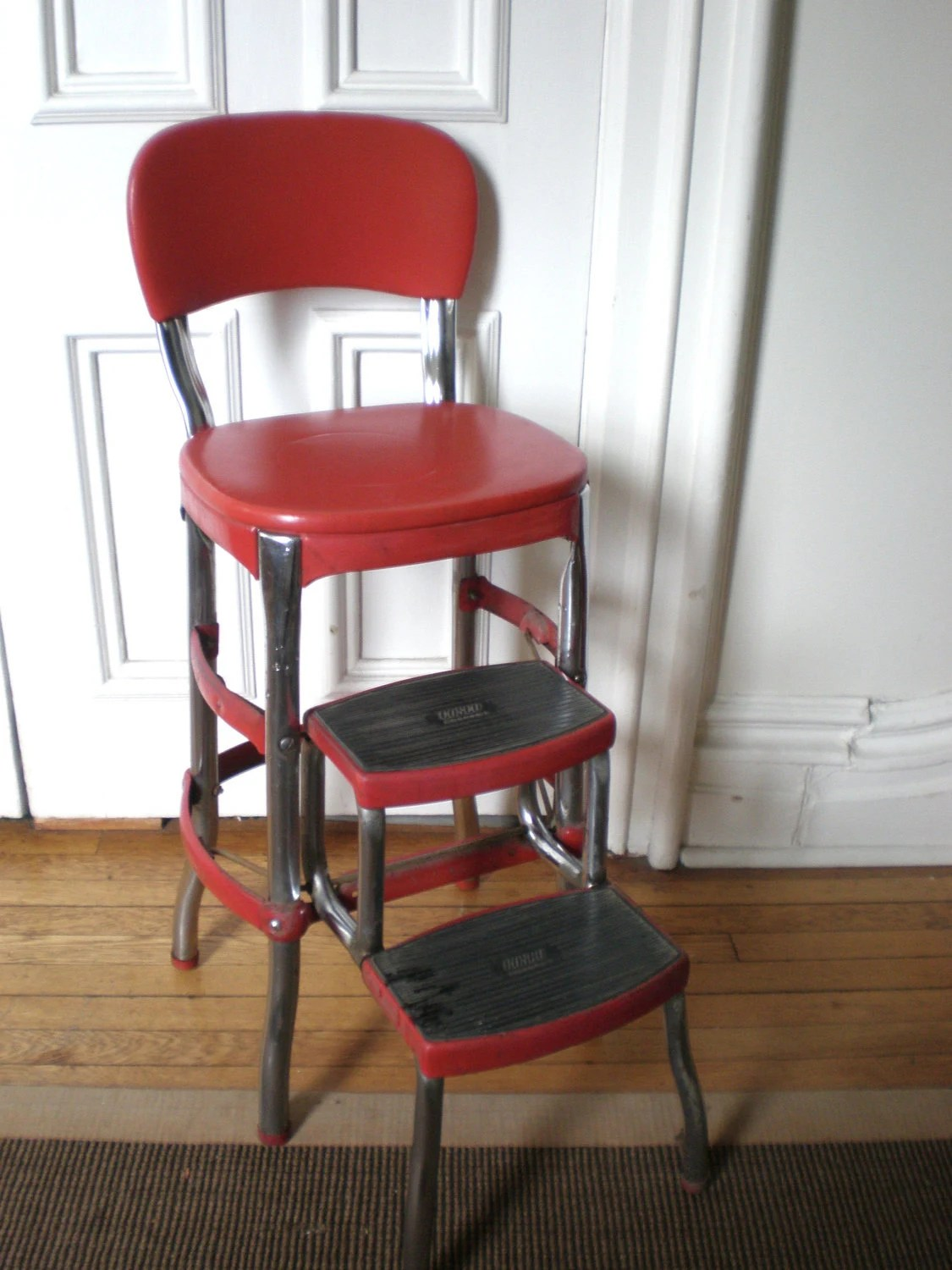 red cosco kitchen chair with step stool red kitchen chairs Red Cosco Kitchen Chair with Step Stool zoom