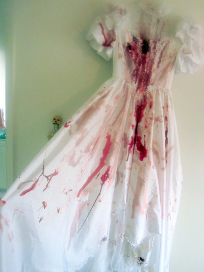Bloody Horror Zombie Wedding Gown with Puff Sleeves. Zombie