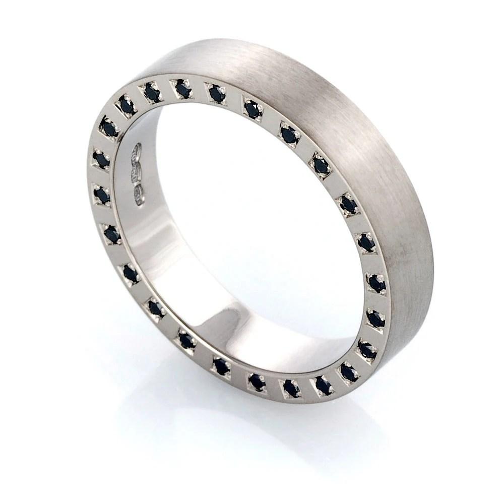black diamond ring men wedding band Palladium ring black diamond wedding ring men s black diamond ring modern eternity ring men palladium wedding commitment side diamonds