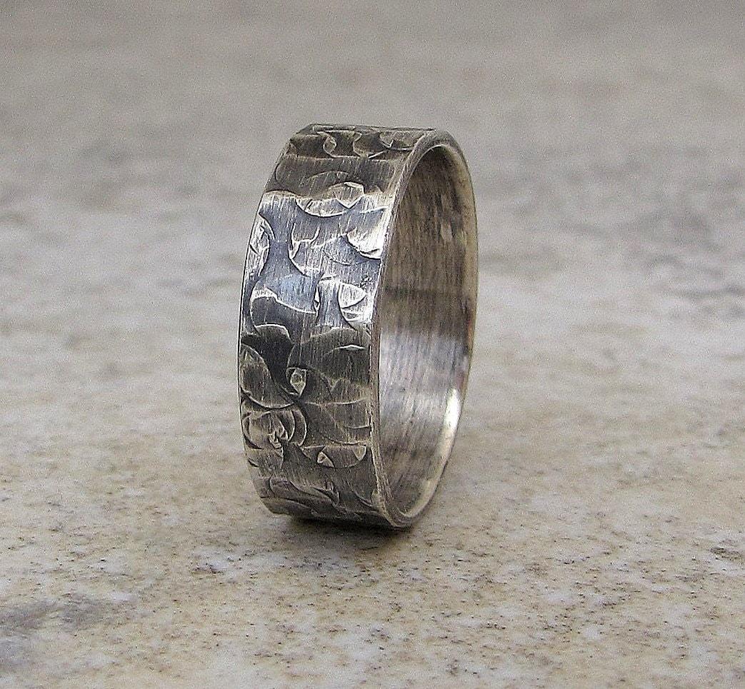 mens rustic wedding band wedding ring hammered wedding band zoom