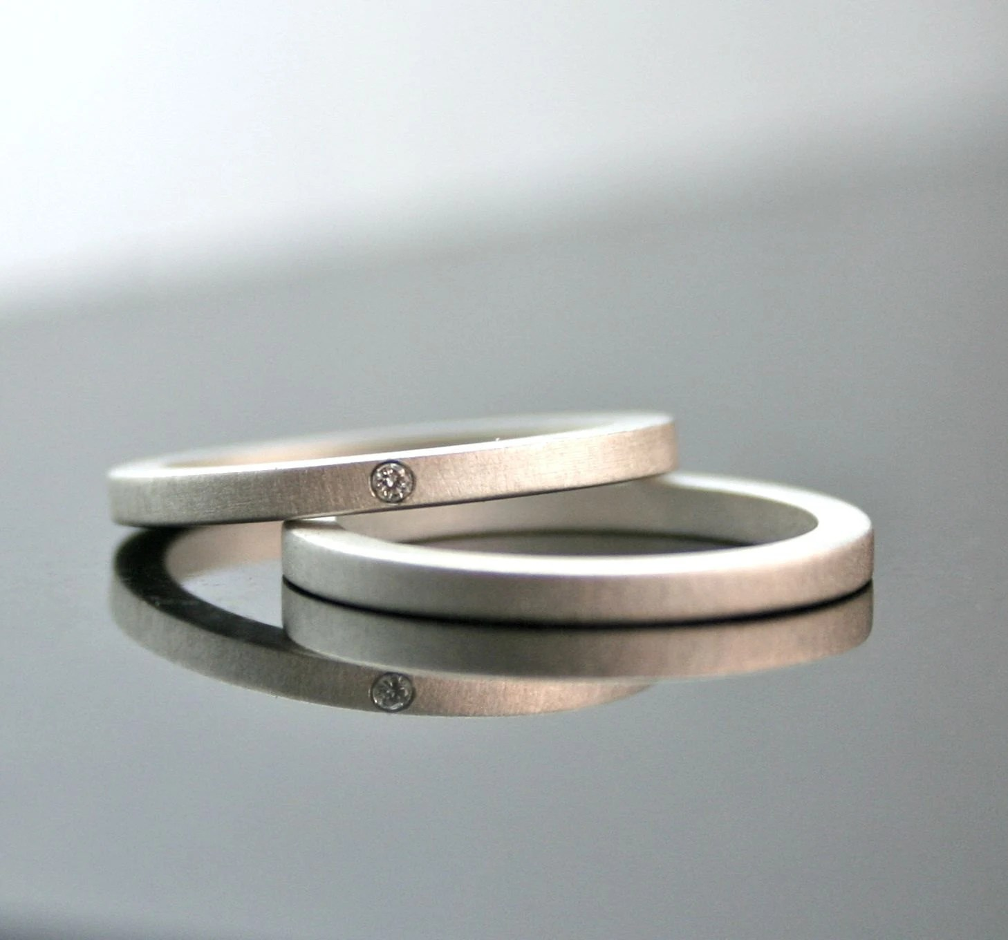 one tiny diamond ring set simple wedding wedding rings sets Engagement Ring Set zoom