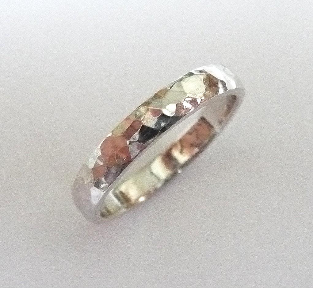 white gold wedding ring women men hammered wedding band wedding band hammered polished 3mm wide zoom