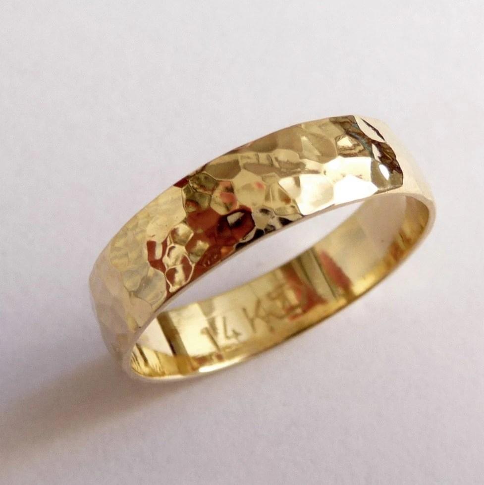 gold mens wedding band wedding ring 5mm hammered wedding band zoom