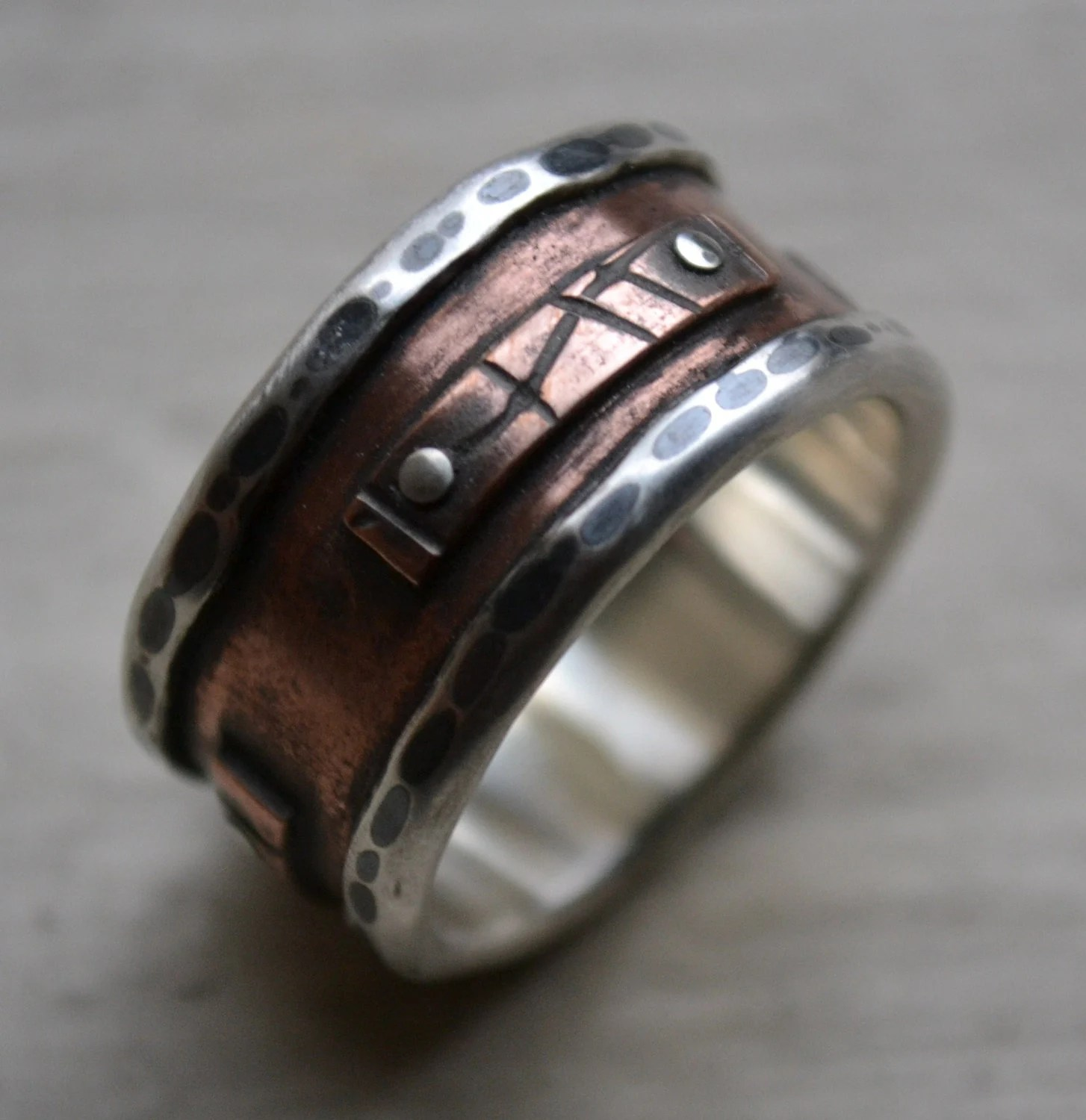 maggi designs custom mens wedding bands mens wide band ring rustic fine silver and copper oxidized handmade artisan designed men s wedding ring silver rivets customized