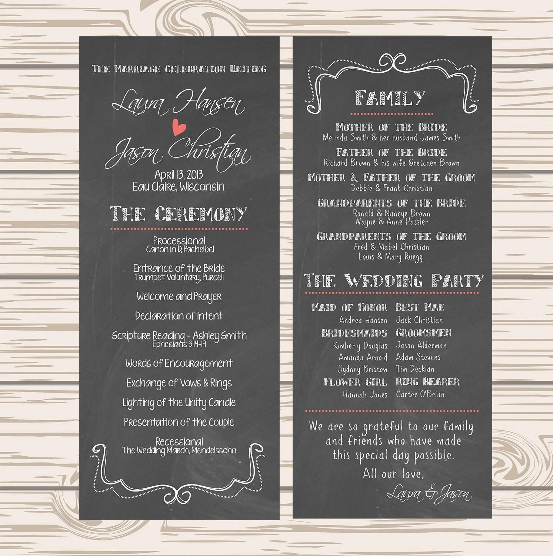 wedding program chalkboard printable or wedding programs zoom