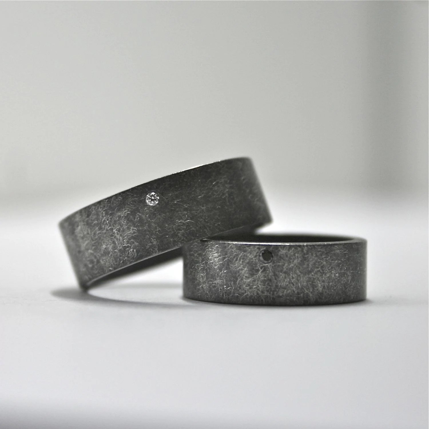 oxidized sterling silver and diamond matching wedding bands Matching Wedding Bands zoom