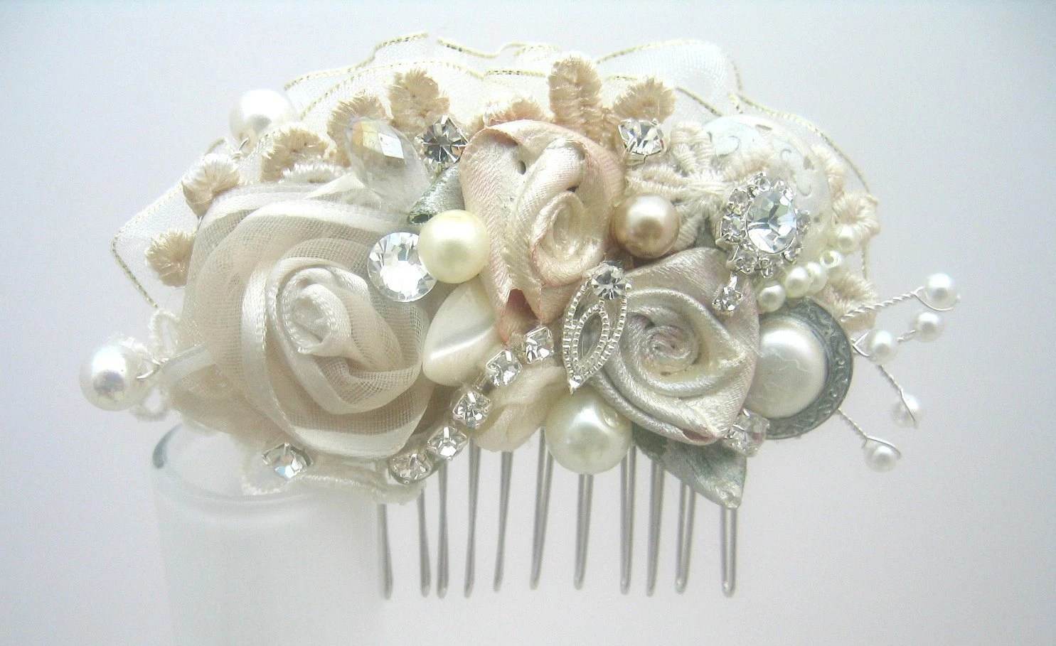 vintage inspired ivory bridal hair clip wedding hair accessories zoom