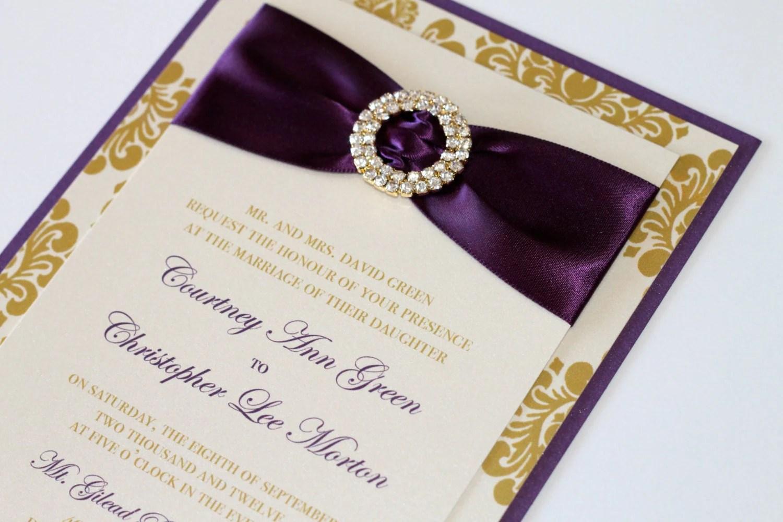 purple and gold wedding invitations purple and gold wedding Courtney Damask Wedding Invitation Embellished Elegant Deep Purple Gold Ivory Sample Rhinestone Invite