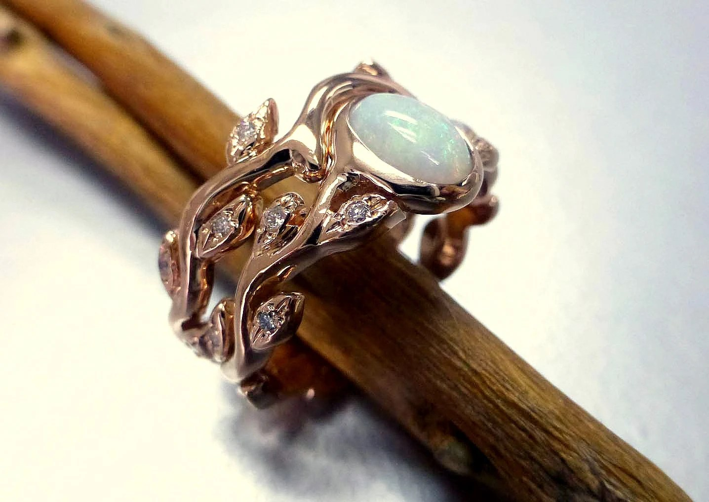engagement ring with opal and diamonds opal wedding ring sets Leaf engagement ring set zoom