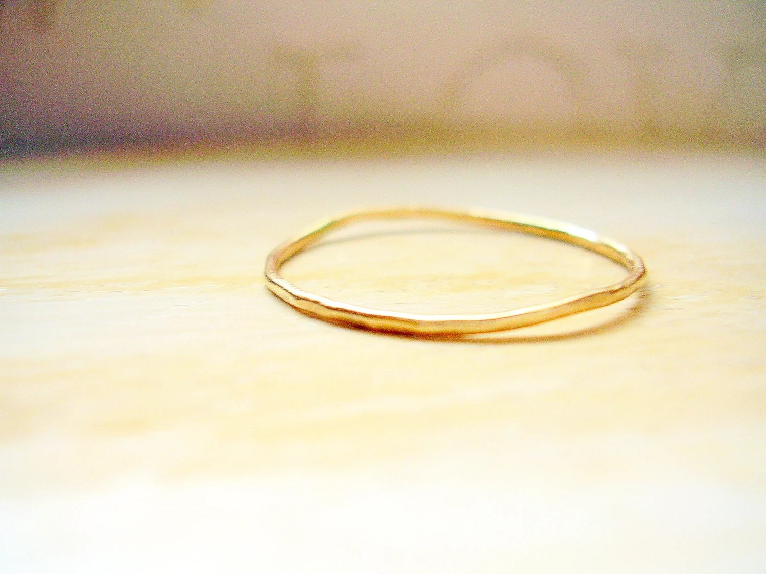 wavy wedding ring dainty wedding bands Dainty Gold Ring 14K Gold Very Thin Wedding Band Hammered Slightly Wavy Stacking Ring made to order in your finger size