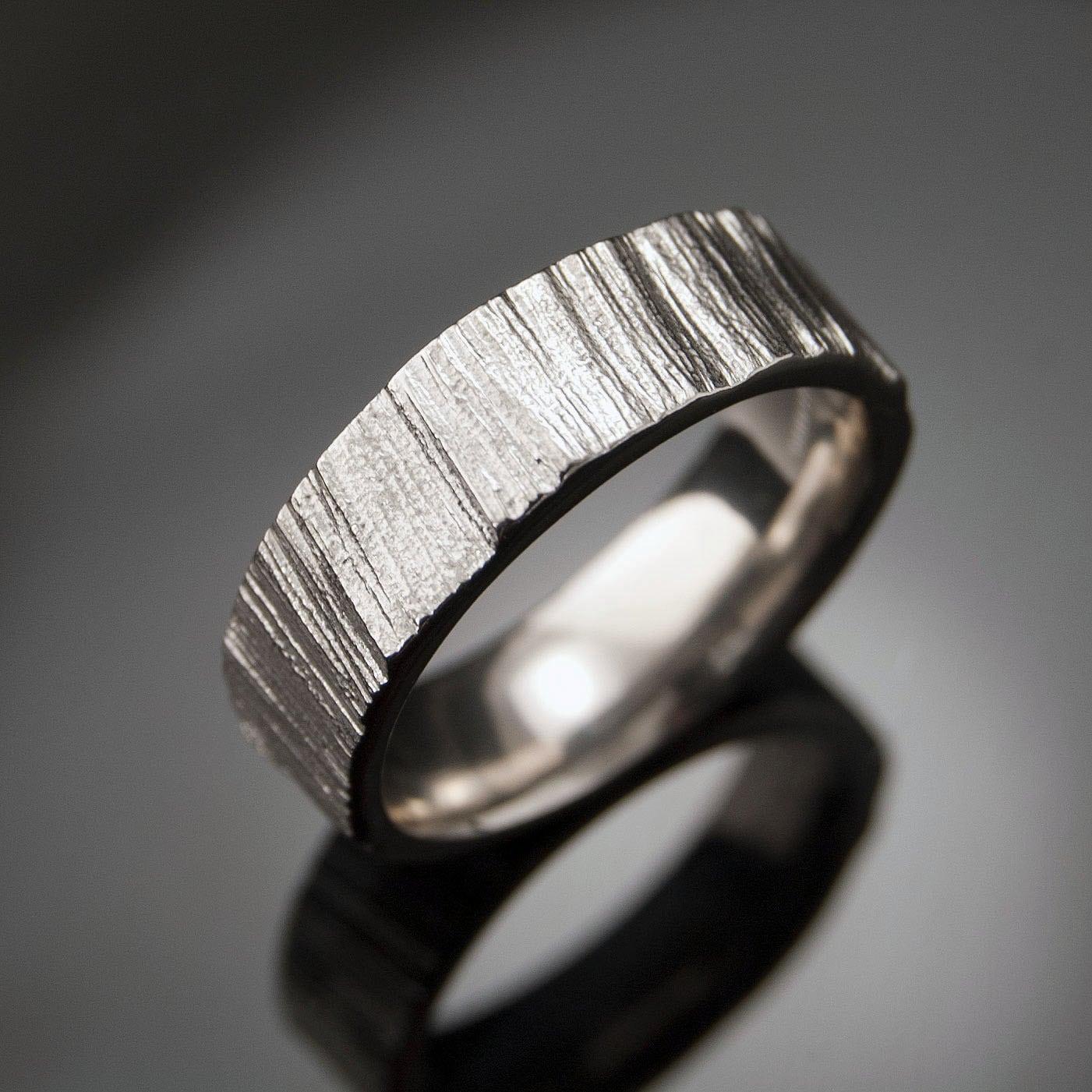 saw cut wedding band ring textured etsy mens wedding bands zoom