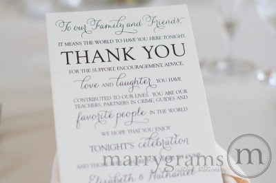 Wedding Reception Thank You Card to Your Guests To Our